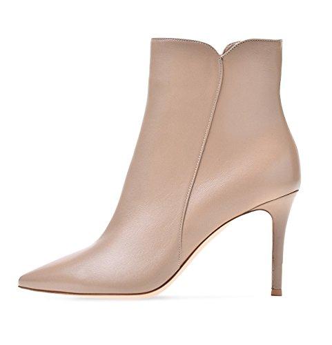 Soireelady Damen Ankle Boots |Stiefeletten Zipper | Leder-Optik Schuhe | 8 CM High Heels | Kurzschaft Stiefel mit Absatz Beige EU39 (Stiefeletten Leder Heel High)