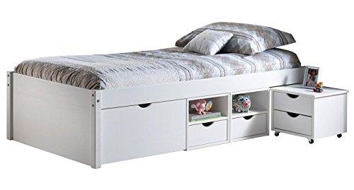 Inter Link Alpine Living Bett Funktionsbett Einzebett Stauraumbett Bett mit Schubladen Echt Holz Bio Weiss lackiert BxHxT: 209 x 48 x 96 cm