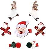Cloud Kids Haarclip Baby Mädchen 7 Stück Haarspangen Haargummi Set Weihnachten Haarschmuck mit Weihnachtsmann Hirsch (Stil-3)