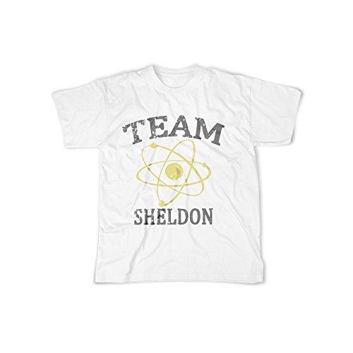licaso Männer T-Shirt mit Aufdruck in Weiß Gr. XL Team Sheldon Sitcom Design Boy Top Jungen Shirt Herren Basic 100% Baumwolle Kurzarm