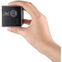 docooler Ultramini P1+DLP Projektor bewegliches 1080P HD Beamer werfen 70-Zoll-Screen 64G TF-Karten-Unterstützung 1000mAh Wiederaufladbare 3,5-mm-Audio-Anschluss für Heim Einsatz im Freien