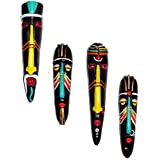 Home Decorative Terracotta Wall Hanging Multicolour Hawaian Mask Pair Combo-25.5 Cms. - 4 Pcs-Handcrafted Decorative Mask For Wall Decor, Room Decor And Gifts - B074QTVLXF