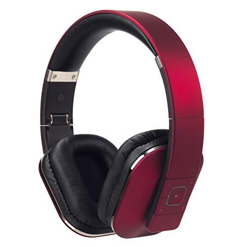 August EP650-Auriculares Bluetooth Inalámbrico-Auriculares Diadema Casco Plegable-Sonido Estéreo Bass Rich-Auriculares Orejeras Cómodas con NFC y aptX,Color Rojo