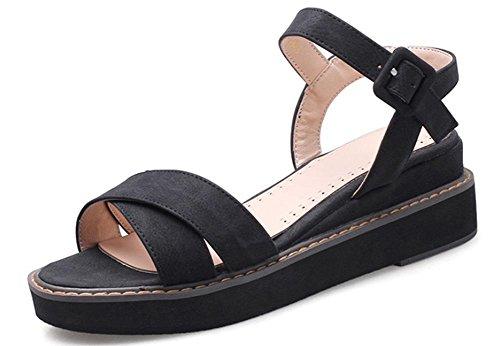 Xiaji croûte épaisse chanson gâteau chaussures plates confortables femmes de grande taille sandales Rome Black