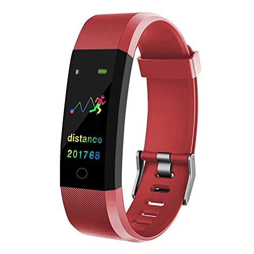 WANGLAI Fitness Tracker IP67 Impermeabile Monitor a Colori Monitoraggio attività Fitness con cardiofrequenzimetro, contapassi, contacalorie, chiamate/SMS, per Donne/Uomini/Bambini (Red)