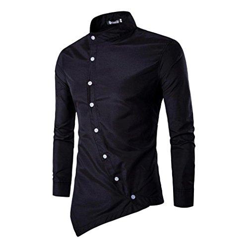 Amlaiworld mens casual irregolare slim fit elegante camicia partito vestito (nero, xl)