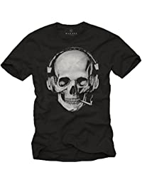 Totenkopf T-Shirt mit Kopfhörer - Skull Rock Band Musik Shirt für Herren