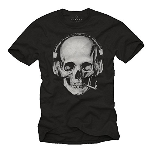 Totenkopf T-Shirt mit Kopfhörer - Skull Rock Band Musik Shirt für Herren schwarz XXXL (Xxxl-band-t-shirts)