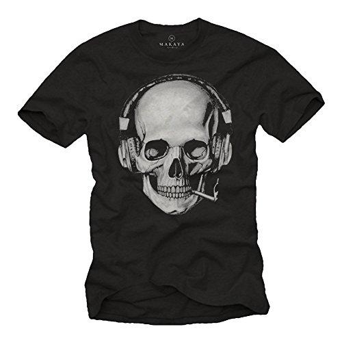 Musik Band T-shirt (Totenkopf T-Shirt mit Kopfhörer - Skull Rock Band Musik Shirt für Herren schwarz XL)
