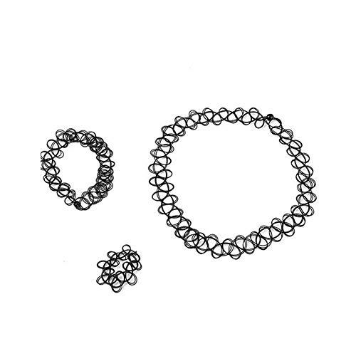 Estirable tatuaje gótico de la alheña collares pulseras y anillos Stretch gótica del tatuaje de la alheña elástico 3PCS Collar Gargantilla
