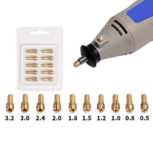 WG 10 stücke Mini Messing Kupfer Spannzangen Spannfutter für Spiralbohrer Motorwellenschleifer 0,5mm-3,2mm Schnellspannfutter Set