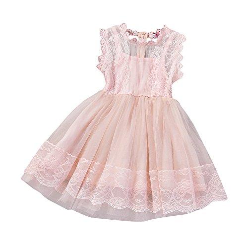 Uomogo® abito di pizzo senza maniche abito di petali di pizzo abito da principessa (età: 6-7 anni, rosa 2)