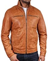 Mens Leather Biker jacket Tan Brand New Real Leather Coat Designer X-Small-5XL