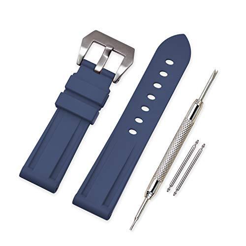 VINBAND Unisex Wasserfest Gummi Uhrenarmband Gebürstete Edelstahl Silber Schnalle kompatibel mit Panerai 24mm Navy Blau -