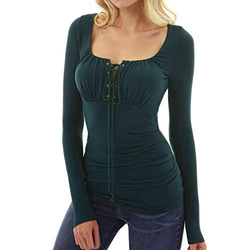 ESAILQ Frau Herbst Square Neck Langarm Lace Up Slim Fit Bluse T-Shirt(L,Dunkelgrün) Pleated Square Neck