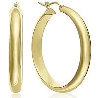 أقراط نصف دائرية كلاسيكية من الذهب الأصفر عيار 14 قيراط من MCS Jewelry (القطر: 2.54 سم - 3.44 سم)