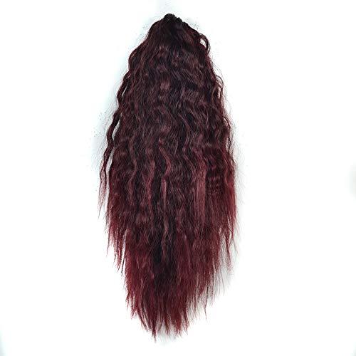 feiXIANG Femme Queue de cheval courte épaisse bouclée griffe Extensions de cheveux de queue de cheval Synthétiques complète des Perruques