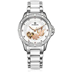 STARKING Women's AL0219SC11 Automatic Stainless Steel Ceramic Watch With Goldfish Embossment