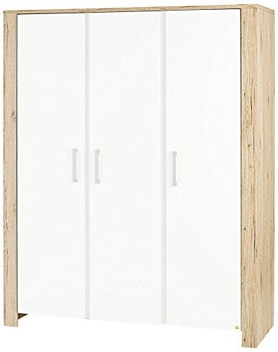 Eiche Französisch Türen (Pinolino 140056G  Kleiderschrank Candeo groß Dekor Eiche mit Echtholzstruktur und Uni, weiß)
