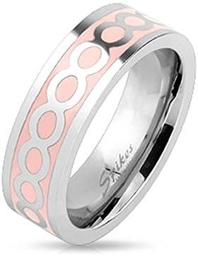 Paula & Fritz® Ring aus Edelstahl Chirurgenstahl 316L pinkes Band mit Abdruck Ewigkeitsperlen verfügbare Ringgrößen...