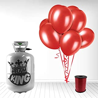 Disposable Helium Gas Cylinder with 30 Ruby Red Balloons and Curling Ribbon included