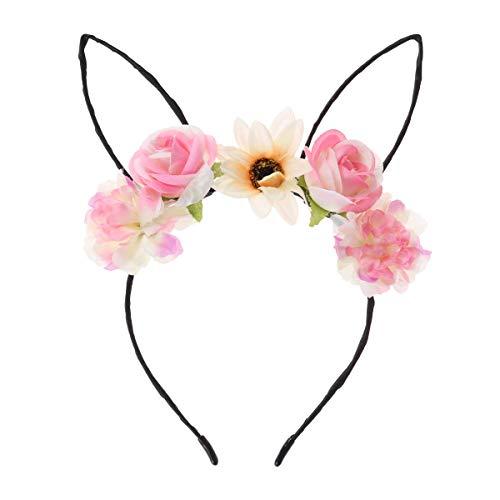 Amosfun Hasenohren Stirnband mit Blumen Kaninchen Ohr Stirnband Tier Stirnbänder Ostern Party Kostüm Gastgeschenk ()