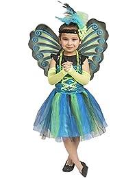Kleiner Pfau Kostüm für Mädchen - Zauberhaftes Schmetterling Feen Elfen Kinder Kleid mit Feder Stirnband