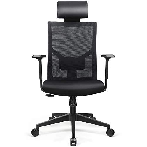 amzdeal Bürostuhl Ergonomischer Schreibtischstuhl, Gaming Drehstuhl Chefsessel mit Bürodrehstuhl Taillenkissen und Wippfunktion