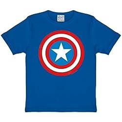 Capitán América - camiseta infantil del escudo - para forofos del superhéroe de Marvel, con la licencia oficial, azul - 158/164