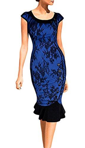 Smile YKK Slim Fit Damen Sommer Kleid Cocktailkleid Etuikleid Schlauch kleid Tulpenkleid Casual Kleid Business Kleid Lace Blau