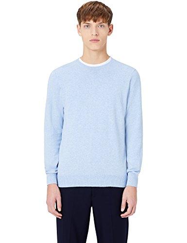 MERAKI Baumwoll-Pullover Herren mit Rundhals, Blau (Ocean Blue), X-Large (Blue Bekleidung Ocean)