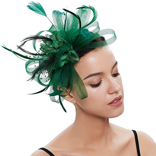 Fascinator Kostüm Hut - Coucoland Feder Fascinators Hut Damen Blumen Mesh Hochzeit Braut Elegant Fascinator Haarreif Cocktail Tee Party Damen Fasching Kostüm Accessoires (Dunkelgrün)