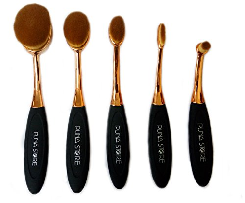 Puna Store Oval Brush Set, Black/Gold, 5 Pieces