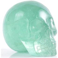 Estatua de calavera tallada a mano, piedra de cristal de curación de feng shui, reiki humana, fluorita verde
