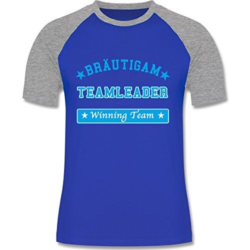JGA Junggesellenabschied - Bräutigam Teamleader Winning Team - zweifarbiges Baseballshirt für Männer Royalblau/Grau meliert