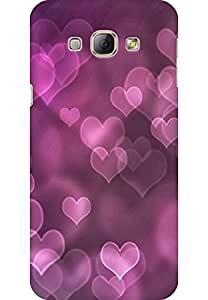 AMEZ designer printed 3d premium high quality back case cover for Samsung Galaxy A8 (purple hearts abstract)
