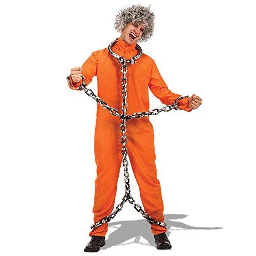 Carnival Toys 82116 - Häftling Jumpsuit, Kostüm, Größe M-L, orange