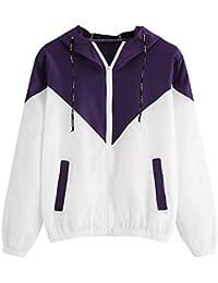SHOBDW Manteau Femme Hiver à Manches Longues Blouson Veste Hoodie Poches  zippées Pullover de Sport Sweatshirt 3bef2f88c356