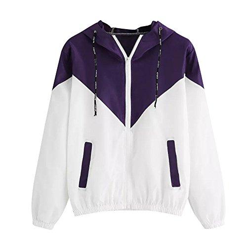 TWIFER Damen Jacken Patchwork Günne Skin Suits mit Kapuze Reißverschluss Taschen Sport Mantel Cardigan