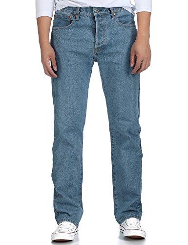 Deyllo Herren Klassisch Hochverschleißfest Straight Fit Jeanshose Jeans Denim Hose(Light Stonewash, W38/32L) (Jeans Stonewash Leg)