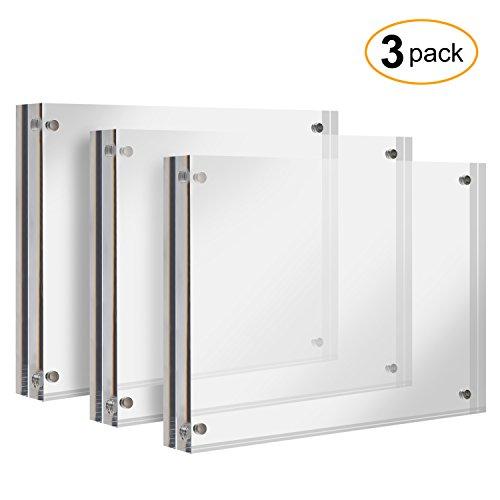 3 Stück Glas-schreibtisch (Cliselda Acryl-Fotorahmen, 13 x 18 cm, magnetisch, doppelseitig, Dicker Rahmen, Familien-Bilderrahmen, 12,7 x 17,8 cm, 3 Stück)