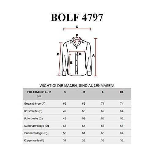 BOLF Herren Langarm Herrenhemd Figurbetont Freizeit Slim 4797 Dunkelblau