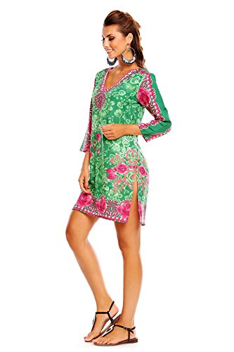 Damen Looking Glam Tribal Aufdruck Kaftan Tunika Sommer Top Midi Kleid - Größe 10 - 18 grün 19071