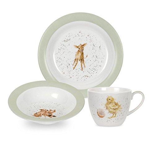 Wrendale by Royal Worcester–Set di 3pezzi composto da tazza, piatto e ciotola