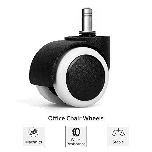Hartbodenrollen - 5x Stuhlrollen 11mm / 50mm Rollenset für Bürostuhl Schwarz Weiß