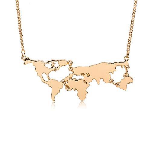 Z&J Damen Halskette Weltkarte Anhänger Hohl Weltkugel Kontinente Metall Schlüsselbein Kette Mode Einfach Schmuck Geschenk,Gold