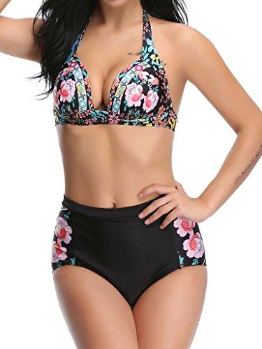 NINGMI Mujeres Cintura Alta Push Up Bikini Traje De Baño Vintage Floral Impreso Bañadores Beachwear