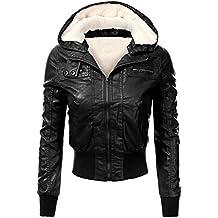 Brinny Damen Kapuzen Lederjacke Motorradjacke Oberbekleidung  Kunstlederjacke Leder Jacke Jacket Bikerjacke Blazer 0d54134ff3