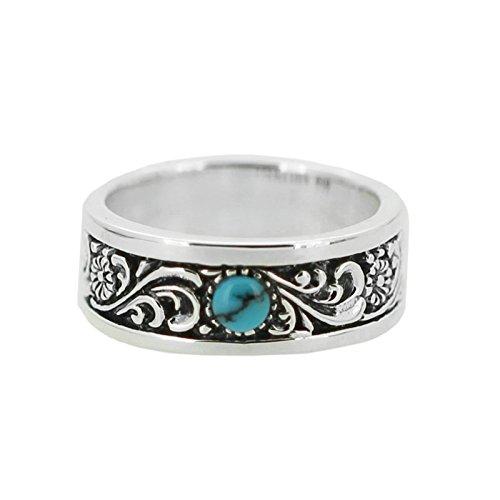 Epinki anello argento 925 punk rock vintage gotico fiore modello turchese anello per uomo misura 23,5