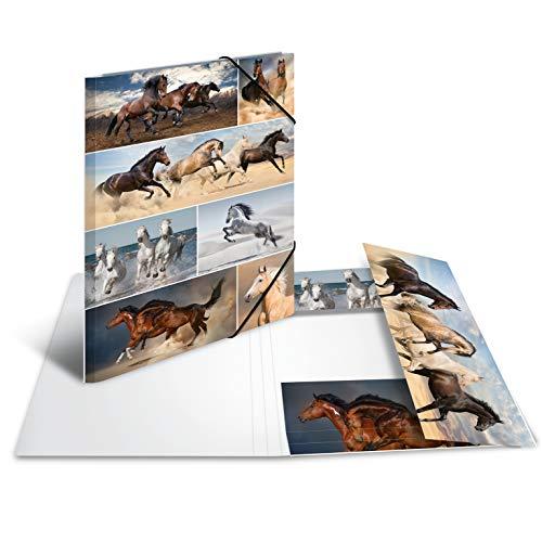 HERMA 19217 Sammelmappe DIN A3 Tiere Pferde aus stabilem Karton mit bedruckten Innenklappen, Gummizugmappe, Eckspanner-Mappe, 1 Zeichenmappe für Kinder